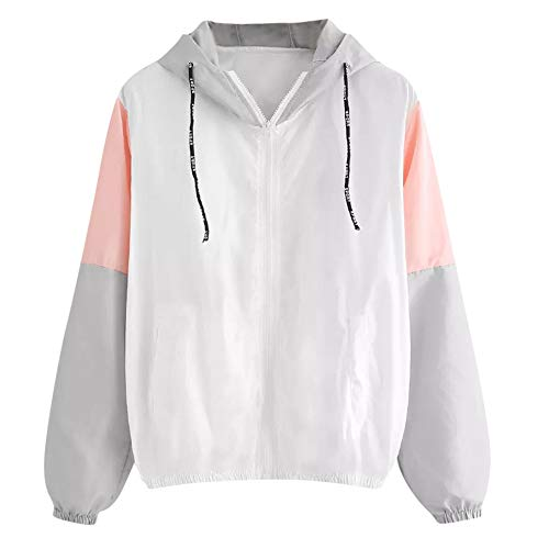 - Ulanda Women Long Sleeve Thin Jacket Hooded Zip Splicing Colour Pockets Sport Coat