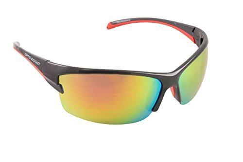 Optic Edge Breakaway Gunmetal Semi-Rimless Sunglasses, Pearl Frame, Fire Orange Mirror - Sunglasses Breakaway