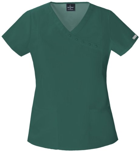 Baby Phat 26908 Women's Solids Mock Wrap Scrub Top Hunter Green Small