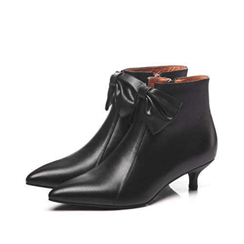 Vestir Arco De En Negro Invierno Rosa Cuero Otoño Bare Punta Martin Estilete Segundo Yan Booties Zapatos Mujer Botas Cremallera Con Fzw6q6