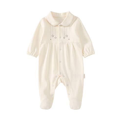 ront Coverall 100% Cotton Jumpsuit Newborn Onesie Bodysuit Sleep Romper Pajamas Long Sleeve Beige 3-6 Months ()