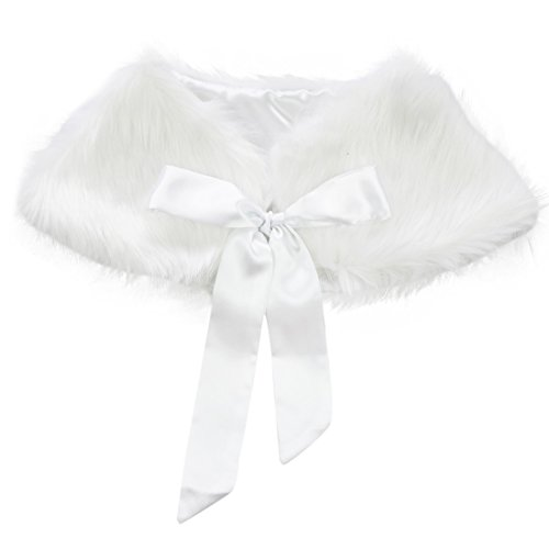 iEFiEL Girls Faux Fur Ribbon Ties Flower Dress Bolero Shrug Princess Cape White 3-6 Years by iEFiEL
