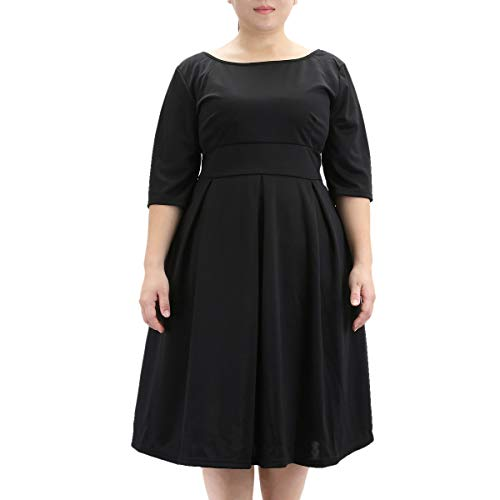 Samtree Women's Plus Size Floral 3/4 Sleeve Backless Cocktail Party Swing Dress(Tag Size 7XL(US 22 W),Black)