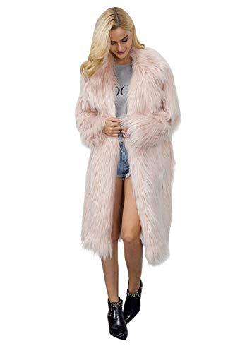 Manteau De Fourrure Femme Longues Hiver paissir Chaud Art Fourrure Outerwear Mode Chic Manches Longues Grande Taille Veste en Fourrure Coat Parka Hiver Rose