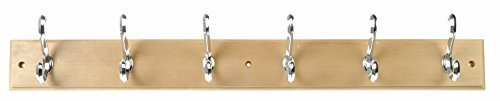 Dorman Hardware 4-1827 Hook Board, with 6 Traditional Double Chrome Hooks, 27-Inch, Maple Finish ()