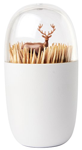 Deer Meadow Toothpick Holder by Qualy Design. Brown Color. Unique Home Design Decoration. Unusual (Peacock Makeup Ideas Halloween)