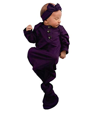 - Unisex Baby Striped Cotton Sleeper Gowns with Cap Long Knotted Sleeping Bag (Purple, 0-6 Months)