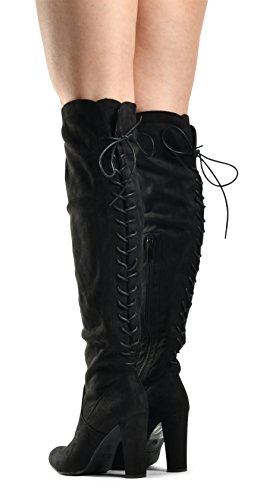 Over Knee Lace Heel Comfortable Block Black Pullon Sexy Up Zoe Thigh LUSTHAVE High The Trendy Back Boots Stretch 8zZzPg