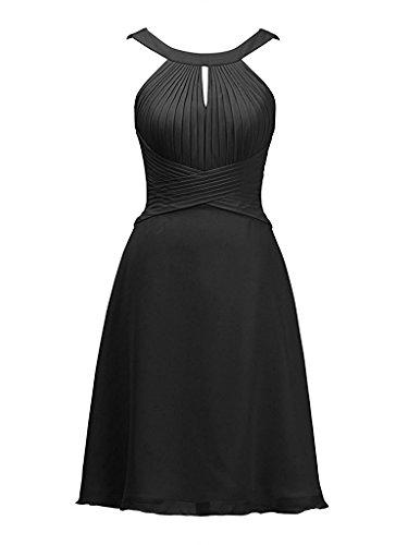 Asbridal Womens Halter Bridesmaid Dress Short Chiffon Prom Party Evening Dress  Black  Us18w