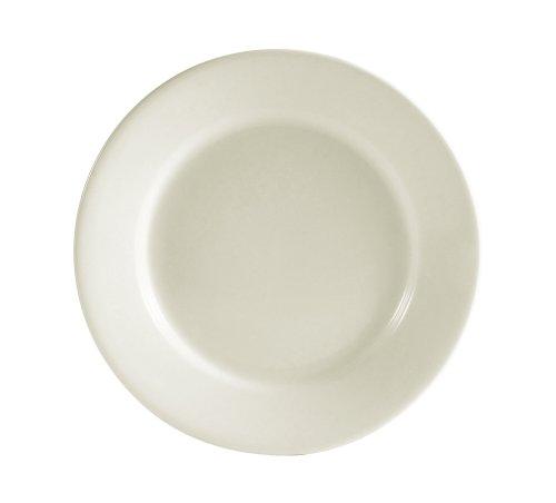 CAC China REC-16 Rolled Edge 10-1/2-Inch Stoneware Round Plate, American White, Box of 12 - Stoneware American