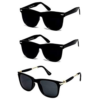 Sheomy New Arrival Special Collection of Festive Seasons Black Color Unisex UV Protected Avaitors, Aviators and s Sunglasses Combo Ideal for Boys, Girls, Men, Women (58-691F-ZTBC)