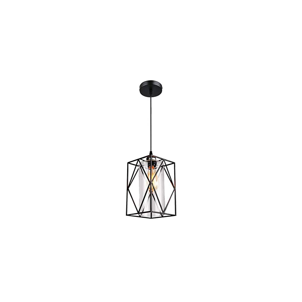 Eyassi Farmhouse Hanging Lighting Fixture, Industrial Black Pendant Light Fixtures with Glass Lampshade for Kitchen…