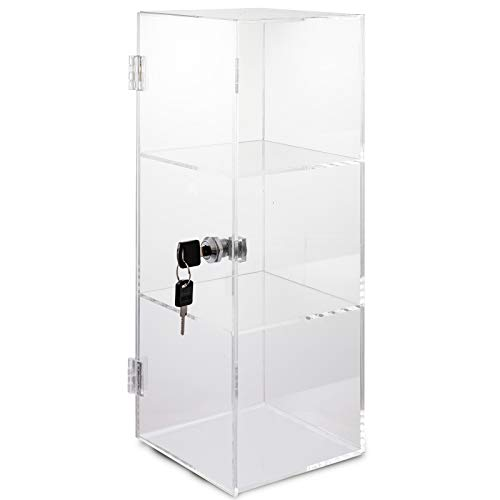 BestEquip Acrylic Display Case 3 Tier Clear Display Cases with Lock and 2 Keys Retail Display Cases Assembled Acrylic Display Pastry Cabinet for Cakes Donuts Cupcakes and Jewelry (6