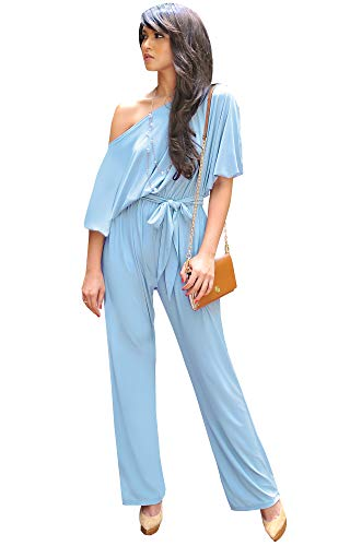KOH KOH Plus Size Womens One Shoulder Short Sleeve Sexy Wide Leg Long Pants One Piece Jumpsuit Jumpsuits Pant Suit Suits Romper Rompers Playsuit Playsuits, Sky Baby Light Blue 2XL 18-20