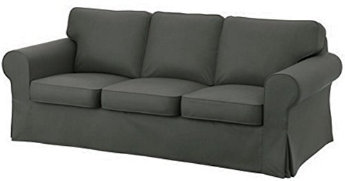 Ikea Ektorp Sofa (The Cotton Ektorp 3 Seat Sofa Cover Replacement Is Custom Made for IKea Ektorp Sofa Cover, A High Quality Ektorp Sofa Slipcover Replacement (Dark)