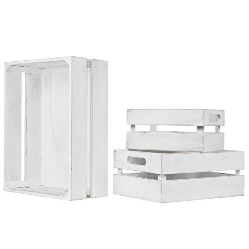 MyGift Set of 3 Vintage White Wood Nesting Storage Crates ()