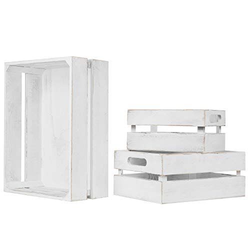 (MyGift Set of 3 Vintage White Wood Nesting Storage)