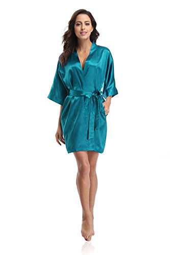 Luvrobes Women's Satin Kimono Robe, Solid Color, Short (M, Peacock Blue)