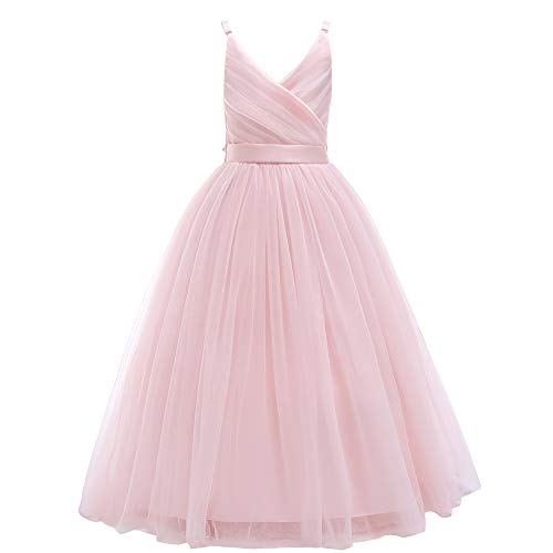 Glamulice Girls Lace Bridesmaid Dress Long A Line Wedding Pageant Dresses Tulle Spaghetti Strap Party Gown Age 3-16Y (15-16Y, V-Pink)
