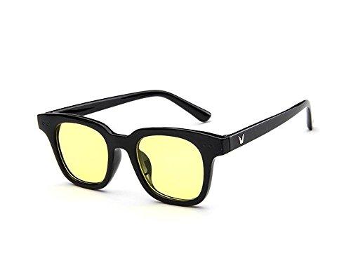Tou che Korea retro fashion sunglasses sunglasses sheet transparent ocean (Yellow color, - Sunglasses Korea