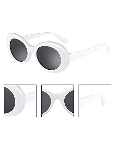 cb0096639a608 Gejoy Clout Oval Goggles Thick Frame Kurt Cobain Round Mod Retro Sunglasses  Women Men Girl Boy