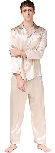 Luxury Silk Pajamas Sets Long Sleeve Beautiful Gifts for Husband Beige M by Colorful Silk