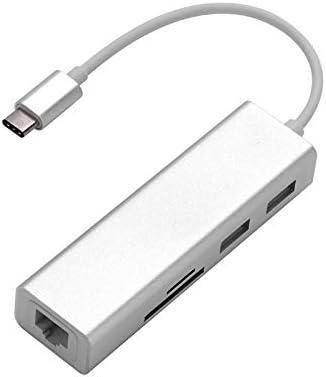 DP-iot 5 in 1 USB C Hub 3.0 Type-C Adapter Data Sync Card Reader RJ45 Ethernet LAN