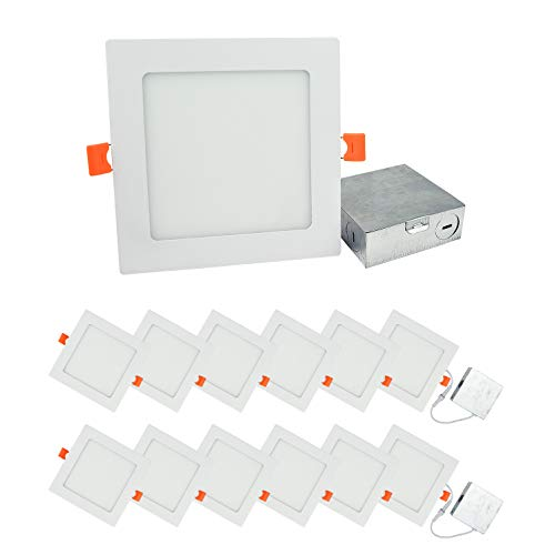 Price comparison product image OSTWIN (12 Pack) 6 inch 12W (60 Watt Repl.) IC Rated LED Recessed Low Profile Slim Square Panel Light with Junction Box, Dimmable, 5000K Daylight 840 Lm. No Can Needed ETL & Energy Star Listed