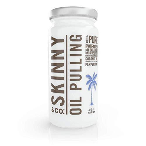SKINNY and CO. 100% Raw Oil Pulling Peppermint Coconut Oil for Healthier Teeth and Gums (16 Oz)
