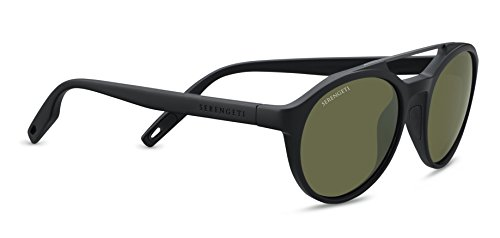 Serengeti Leandro Sunglasses Satin Black/Satin Dark Gunmetal, Green by Serengeti