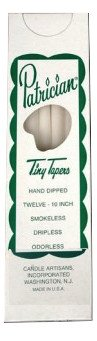 D'light Online Patrician 10 Inch Tiny Hand Dipped Skinny Taper Candles (Set of 12, White)