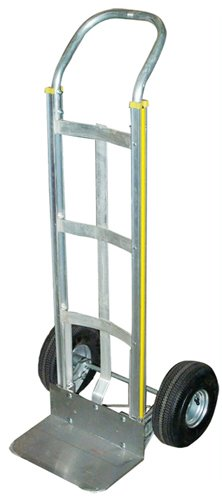 Milwaukee Hand Trucks 45110 Aluminum Flow Back Handle Truck with Curved Frame and 10-Inch Pneumatic Tires - Milwaukee Aluminum Handles