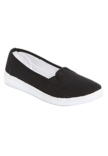 Comfortview Women's Wide Dottie Canvas Sneaker Black,9 Ww