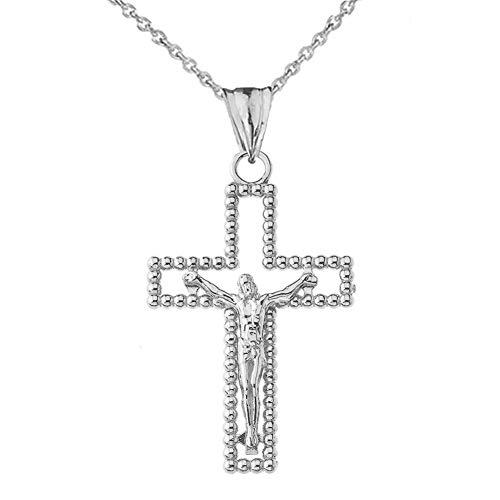 Modern 10k White Gold Beaded Open Crucifix Cross Pendant Necklace, 18""