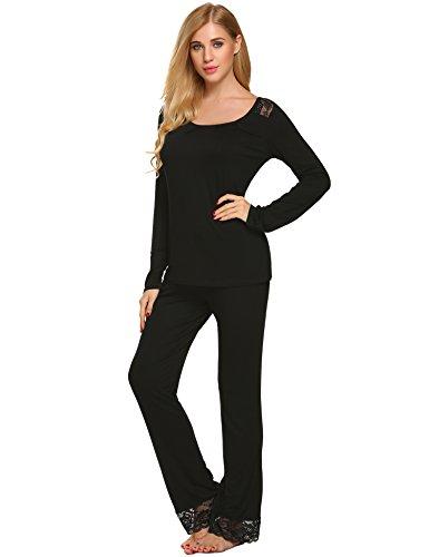 5970e85f66 Hotouch Pajama Sets Women Sleepwear Pjs Cotton Top   Long Plaid Bottoms  Loungwear Pj Set S