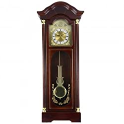 MD Group Wall Clock 33-Inches Antique Cherry Oak Finish Chiming with Roman Numerals