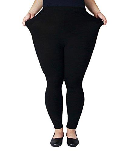 Zerdocean Women's Plus Size Modal Lightweight Full Length Leggings Black (Lightweight Legging)
