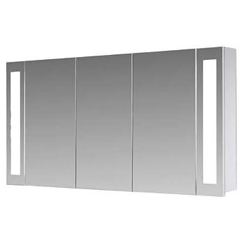 Eurosan 3-türiger Spiegelschrank, Superflach, Integrierte  LED-Frontbeleuchtung, Breite 120 cm, Weiß, San Francisco, SF120