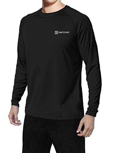 Pretchic Men's UPF 50+ UV Sun Protection Performance Long Sleeve Outdoor T Shirt Black Medium - Sleeve Guard Crew Long Rash