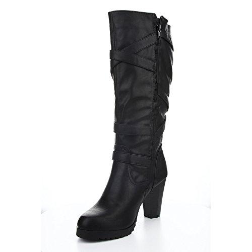 Cape Robin Womens Heather01 Kitty Heel Criss Cross Buckle Strap Knee High Boot Black/Silver PG6hY