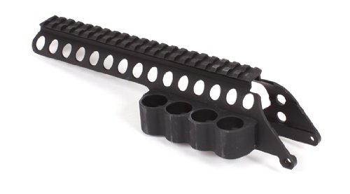 Mesa Tactical Saddle Mount with SureShell shtogun shell carrier for Remington 870/1100/11-87 (4-Shell, 12-GA, 8 1/2'' Rail Length) by Mesa Tactical
