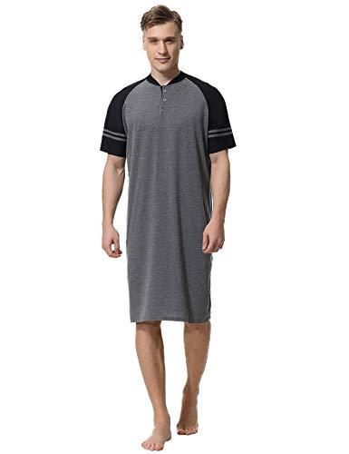 Aibrou Mens Nightshirt Cotton Short Sleeve Nightwear Comfy Henley Sleepwear Grey