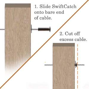 Self-Locking SwiftCatch Swageless Quick Connector for Cable Railings for 1//8 Cable VistaView CableTec Easy-Install with Gray Cap -Lot of 10