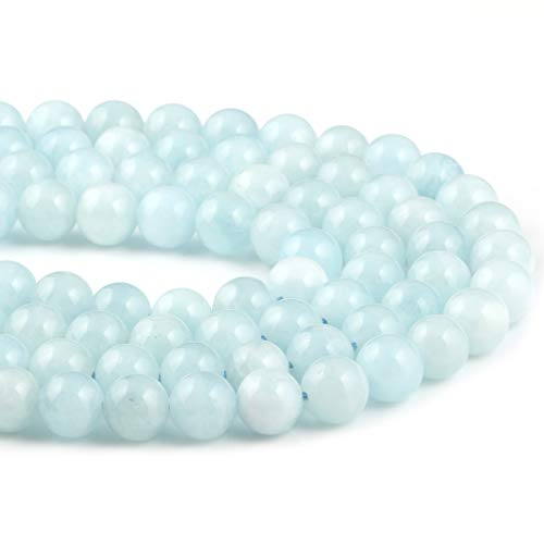 - Natural Stone Beads Aquamarine Round Loose Beads Handmake DIY for Jewelry Making 1 Strand 15