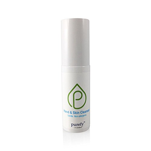 Purefy Hand and Skin Cleanser (On the Go) - hypoallergenic, alcohol free, great for dry sensitive hands or skin with eczema, dermatitis, or irritations. safe around eyes or use with kids