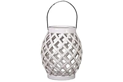 Urban Trends UTC40403 Ceramic Lantern, White