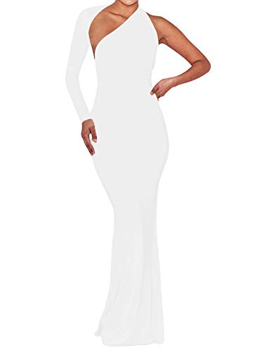 BEAGIMEG Women's Sexy Elegant One Shoulder Backless Evening Long Dress White