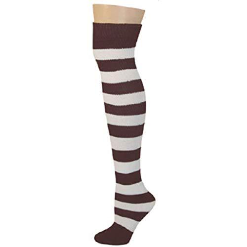 Striped Socks Brown, White,Knee High