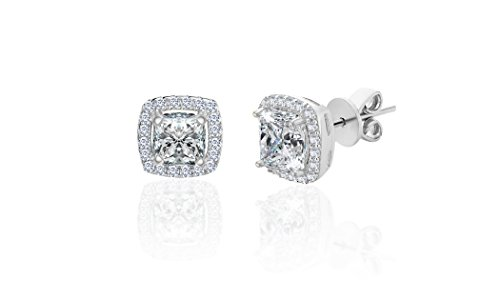 LESA MICHELE 2 Cttw Cubic Zirconia Cushion Shaped Halo Stud Gift Earrings for Women in Rhodium Plated 925 Sterling Silver (White)