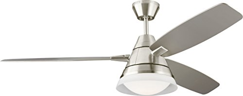 Monte Carlo 3NDR54BSD Nord 54 Ceiling Fan with Light Remote Control, Brushed Steel